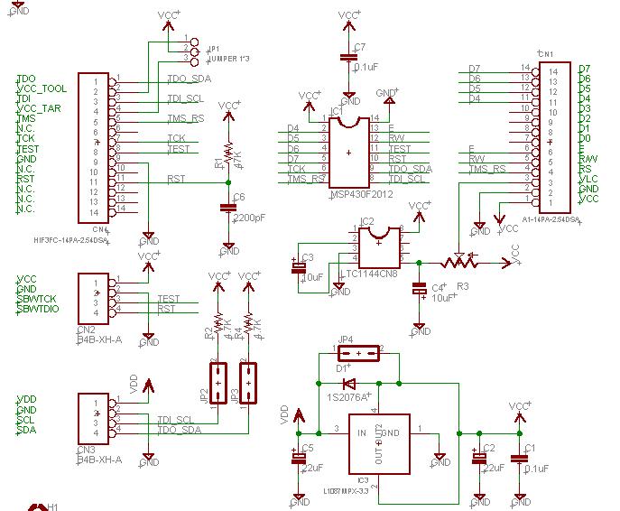 lcd1602与msp430接线图